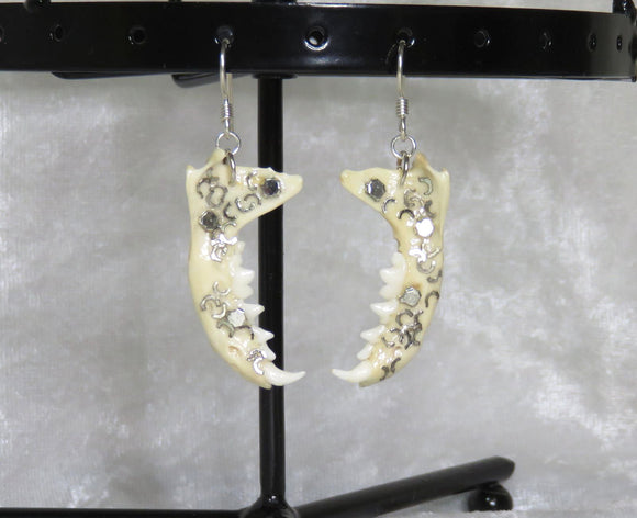 Bone Earrings 925 Sterling ~ Industrial Metal ~ Whiting & Davis ~ Skeletal-Etiquette