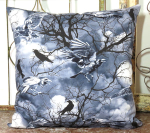 Ravens and Crows Pillow ~ Gothic Full Moons Ominous Storm Clouds