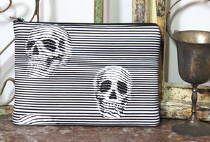 Optical Illusion Skulls Purse ~ Large Makeup Pouch ~ SyFy Industrial Black n White