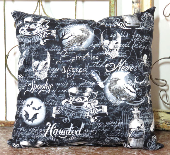 Shakespeare and Poe Pillow ~ Spells Witches Ravens Skulls ~ Wiccan