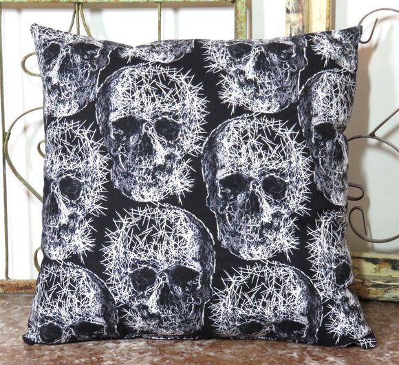 Skull Pillow ~ Sinister Spiked Decay ~ Industrial Punk Metal