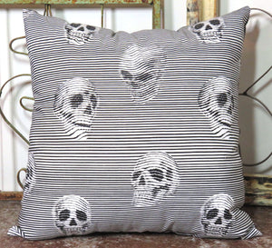 Optical Illusion Skulls Pillow ~ Evil Laughing Industrial Black n White