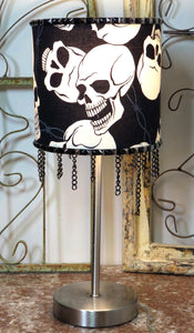 Laughing Skull Lamp ~ Studded Chains Barbed Wire Metal ~ New