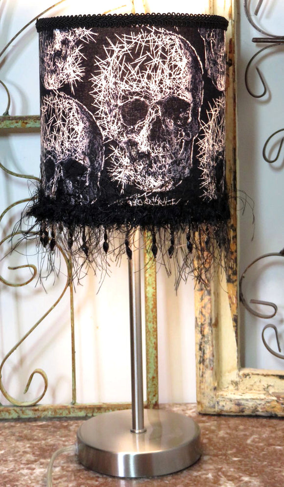Freaky Skull Lamp ~ Abstract Punk Metal Black Beaded Lampshade