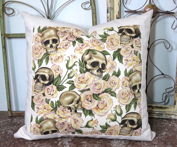 Skulls and Roses ~ Large Decorative Throw Pillow
