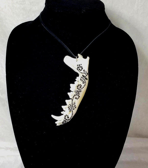 Bone Art Jewelry ~ Raccoon Jaw ~ Skeletal Etiquette ~ Goth Punk Wiccan
