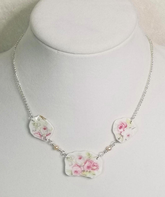 Antique Limoges Pink Roses ~ Broken China Jewelry Necklace ~ Freshwater Pearls