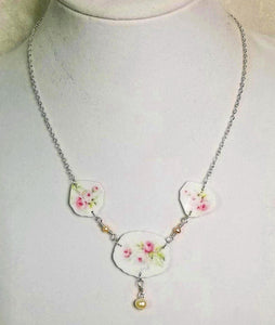 Antique Limoges Pink Roses ~ Broken China Jewelry Necklace ~ Akoya Pearl ~ Swarovski Crystal
