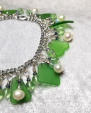 Seaglass Bracelet ~ Akoya Pearls ~ Swarovski Crystals ~ Czech Frosted Glass ~ Sea Gems