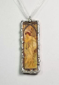 Art Nouveau ~ Alphonse Mucha Altered Art ~ Pendant Necklace ~ Times Of Day ~ Soldered Jewelry ~ Skeletal Etiquette