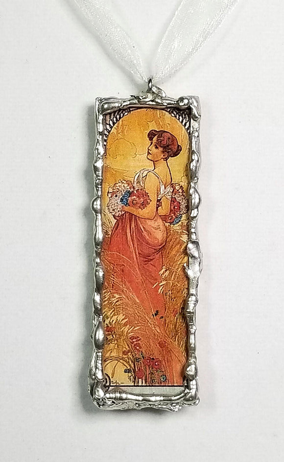 Art Nouveau ~ Alphonse Mucha Altered Art ~ Pendant Necklace ~ Four Seasons ~ Soldered Jewelry ~ Skeletal Etiquette