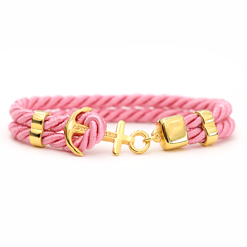 Pink Sapphire Gold Handmade anchor bracelet in Swedish design