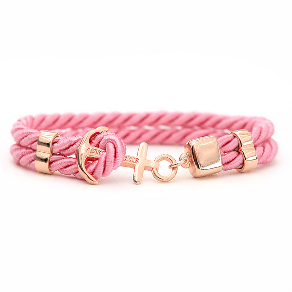 Pink Sapphire Rose Gold Handmade anchor bracelet in Swedish design