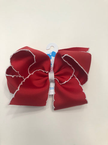 King Moonstitch Red w/ White Trim Bow