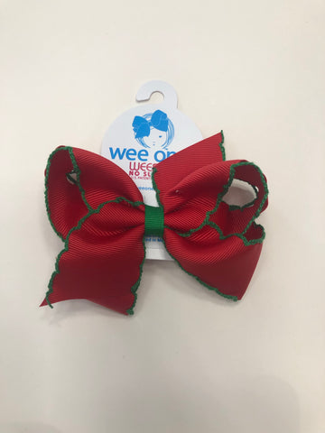 Medium Moonstitch Red w/ Green Trim Bow