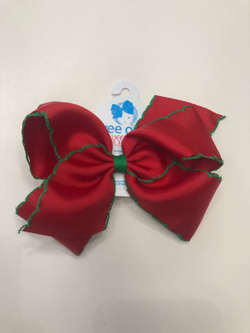 King Moonstitch Red w/ Green Trim Bow