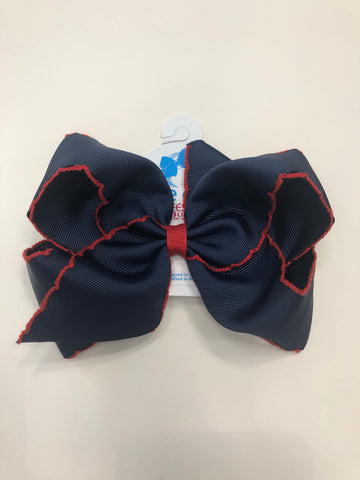 King Moonstitch Navy w/ Red Trim Bow