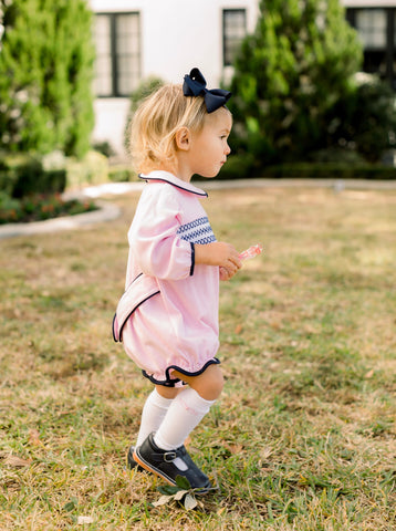 Charleston Bubble - Pink Knit w Navy Piping