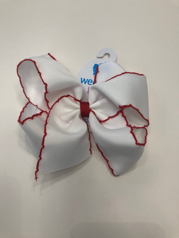 King Moonstitch White w/ Red Trim Bow