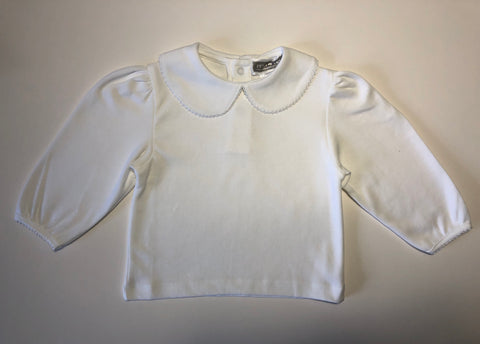 Girl's Long Sleeve White Knit Top