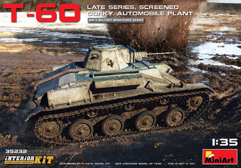 MiniArt Military 1/35 WWII T60 Late (Gorky Automobile Plant) Screened Light Tank w/Full Interior Kit