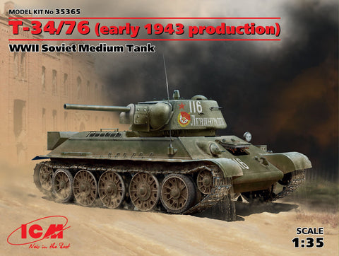 ICM Military Models 1/35 WWII Soviet T34/76 Early 1943 Production Medium Tank Kit