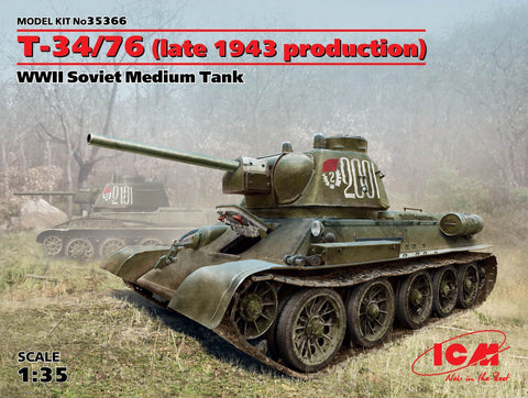 ICM Military 1/35 WWII Soviet T34/76 (Late 1943 Production) Medium Tank Kit