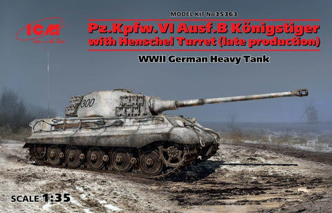 ICM Military Models 1/35 WWII German PzKpw VI Ausf B Konigstiger Late Production Heavy Tank w/Henschel Turret (New Tool) Kit