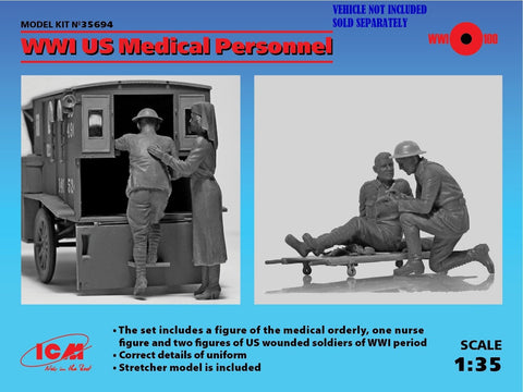 ICM Military Models 1/35 WWI US Medical Personnel (4) (New Tool) Kit