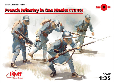 ICM Military 1/35 French Infantry in Gas Masks 1916 (4) Kit