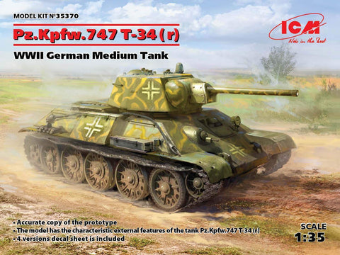 ICM Military 1/35 WWII German PzKpfw T34-747(r) Medium Tank Kit