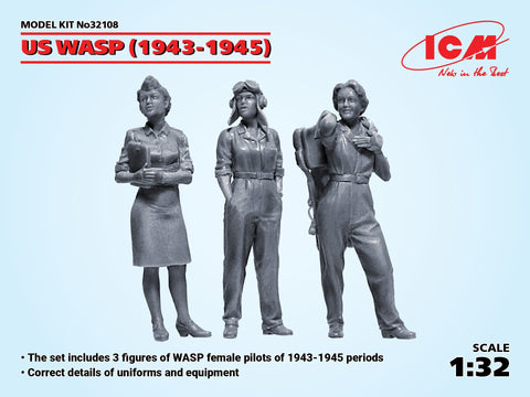 ICM Military Models 1/32 US WASP Figures 1943-1945 (3) (New Tool) Kit