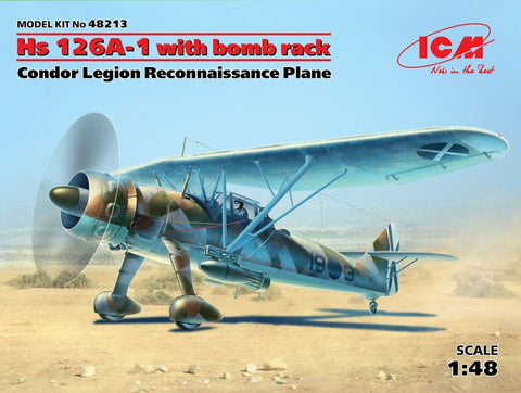 ICM Aircraft 1/48 Hs126A1 Condor Legion Recon Aircraft w/Bomb Rack Kit