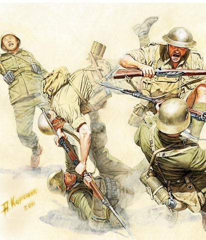 Master Box Ltd 1/35 Hand to Hand Combat British & German Infantry N.Africa WWII (5) Kit