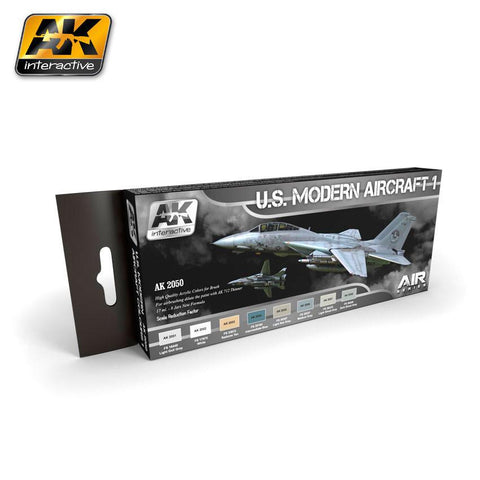 AK Interactive Air Series: US Modern Aircraft 1 Colors Acrylic Paint Set (8 Colors) 17ml Bottles
