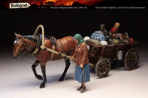 Stalingrad 1/35 Russian Refugees With Cart 1941 - 1945