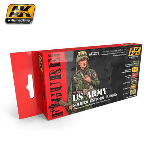 AK Interactive Figure Series: US Army Soldier Uniform Acrylic Paint Set (6 Colors) 17ml Bottles