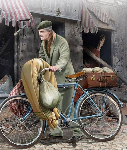 Master Box Ltd 1/35 The Price of War, Elderly European Man w/Bicycle 1944-45 Kit