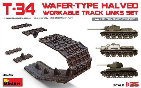 MiniArt 1/35 T34 Wafer-Type Halved Workable Track Link Set for DML, ZVE, TAM, AFV