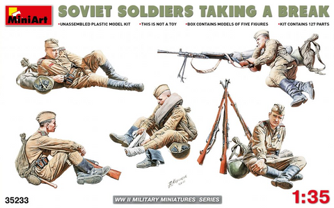 MiniArt 1/35 Soviet Soldiers Taking a Break (5) with Accessories (New Tool) Kit
