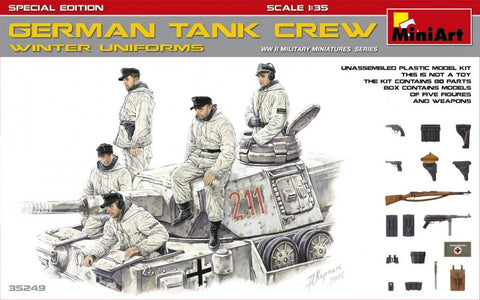 MiniArt 1/35 WWII German Tank Crew Winter Uniforms (5) w/Weapons Special Edition Kit