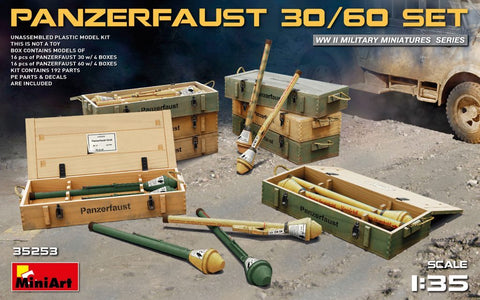 MiniArt 1/35 WWII Panzerfaust 30/60 Infantry Weapons w/Ammo Boxes Kit