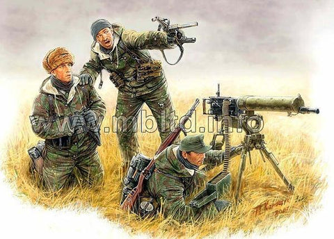 Master Box Ltd 1/35 German Machine Gun Crew w/MG08 Gun Eastern Front Kurland 1944 (3) Kit