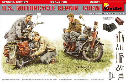 MiniArt Military 1/35 US Motorcycle Repair Crew (3) w/2 Motorcycles, Tools & Boxes Special Edition Kit
