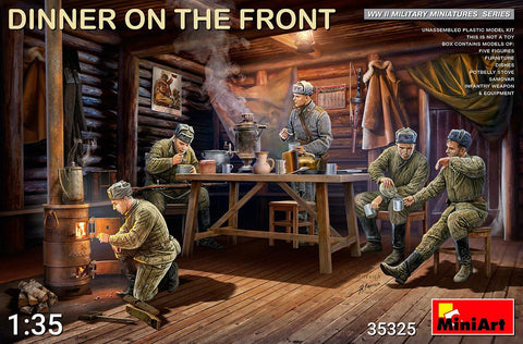MiniArt Military 1/35 Dinner on the Front: Soviet Soldiers (5) w/Furniture & Accessories Kit