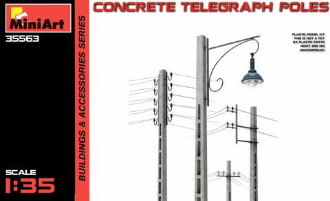 MiniArt Military 1/35 Concrete Telegraph Poles (4 diff. types) Kit
