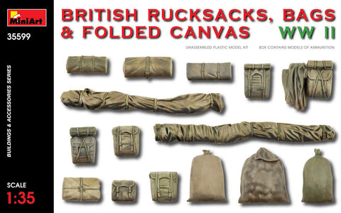 MiniArt Military Models 1/35 WWII British Rucksacks, Bags & Folded Canvas Kit