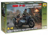 Zvezda 1/35 German R12 Motorcycle w/Sidecar & 3 Crew Kit