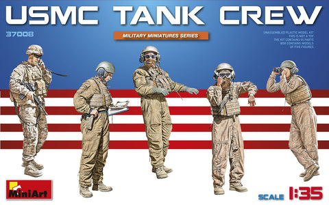This is a plastic military model kit of a MiniArt Models 1/35 USMC Tank Crew (5 figures) military miniatures set