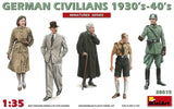 MiniArt Military 1/35 German Civilians (3) & Soldiers (2) 1930's-40's Kit